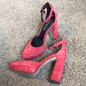 Coach Red Block Heels